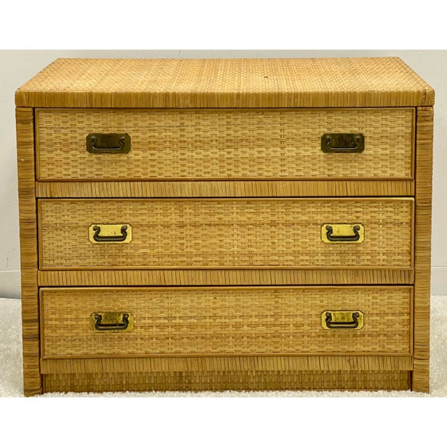 Boho Chic Bilecky Brothers Style Wicker Wrapped Chest For Sale - Image 3 of 6