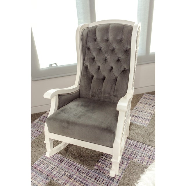 Handmade Wingback White Wooden Rocking Chair - Image 6 of 7