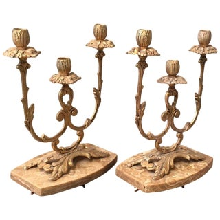 Pair of French Louis XVI Style '19th Century' Three Scroll Arm Candelabras For Sale