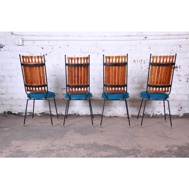1960s Arthur Umanoff for Shaver-Howard Mid-Century Modern High Back Dining Chairs, Set of Four For Sale - Image 5 of 9