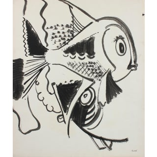 Playful Depiction of Fish 1960-80s Ink For Sale
