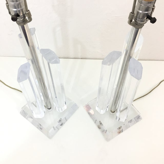 Vintage Karl Springer Style Lucite Lamps- A Pair For Sale - Image 9 of 9