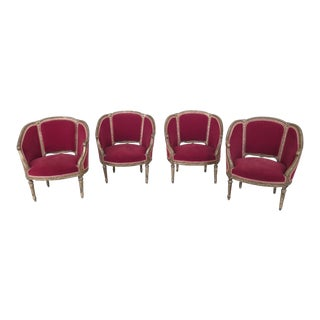 Set Of 4 French Louis XV Style Gold & Red Velvet Parlor Chairs For Sale