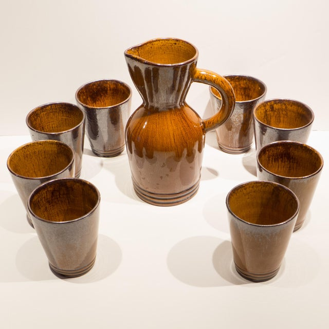 Mid-Century Modern Pitcher with Eight Cups by Atelier du Grand Chene For Sale - Image 3 of 10