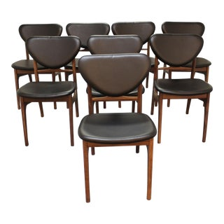 Danish Modern Vodder Style Walnut Floating Seat Dining Chairs - Set of 8