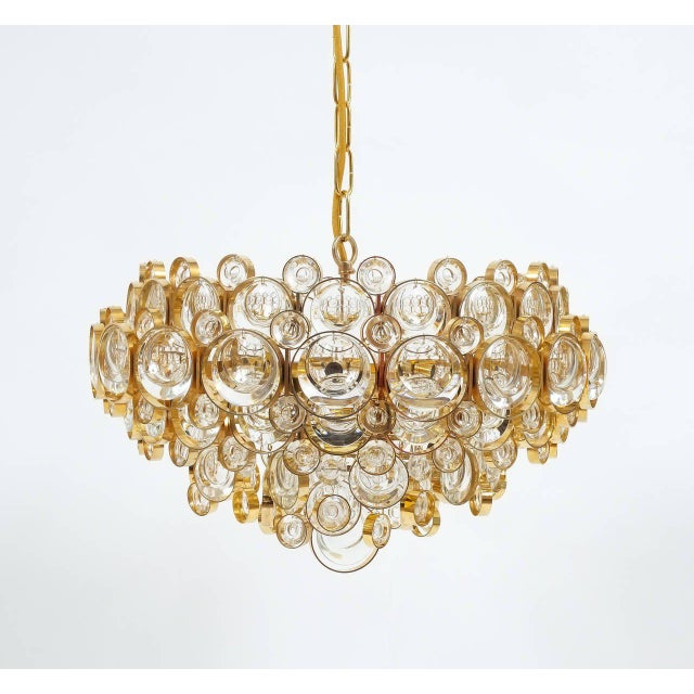 Gold Large Gold Palwa Brass and Glass Chandelier Lamp, Germany 1960 For Sale - Image 8 of 9