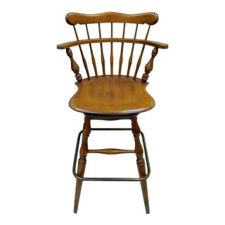 Ethan Allen Heirloom Nutmeg Maple Birch Wood Swivel Bar Stool Chair 10-6095 C