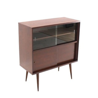 Mid-Century Modern Walnut Cabinet With Sliding Glass Doors Preview