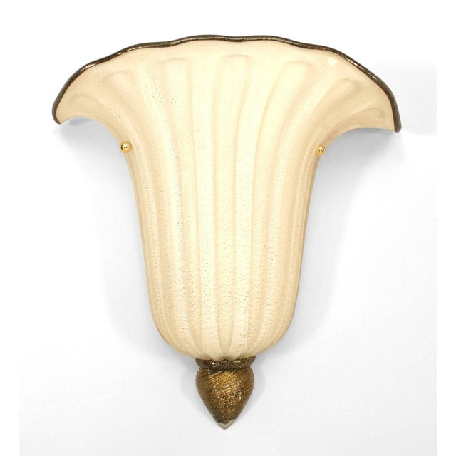 """Pair of Italian 1940s style Murano """"Gabbiani"""" gold dusted white glass wall sconces with fluted design and a black rim on..."""