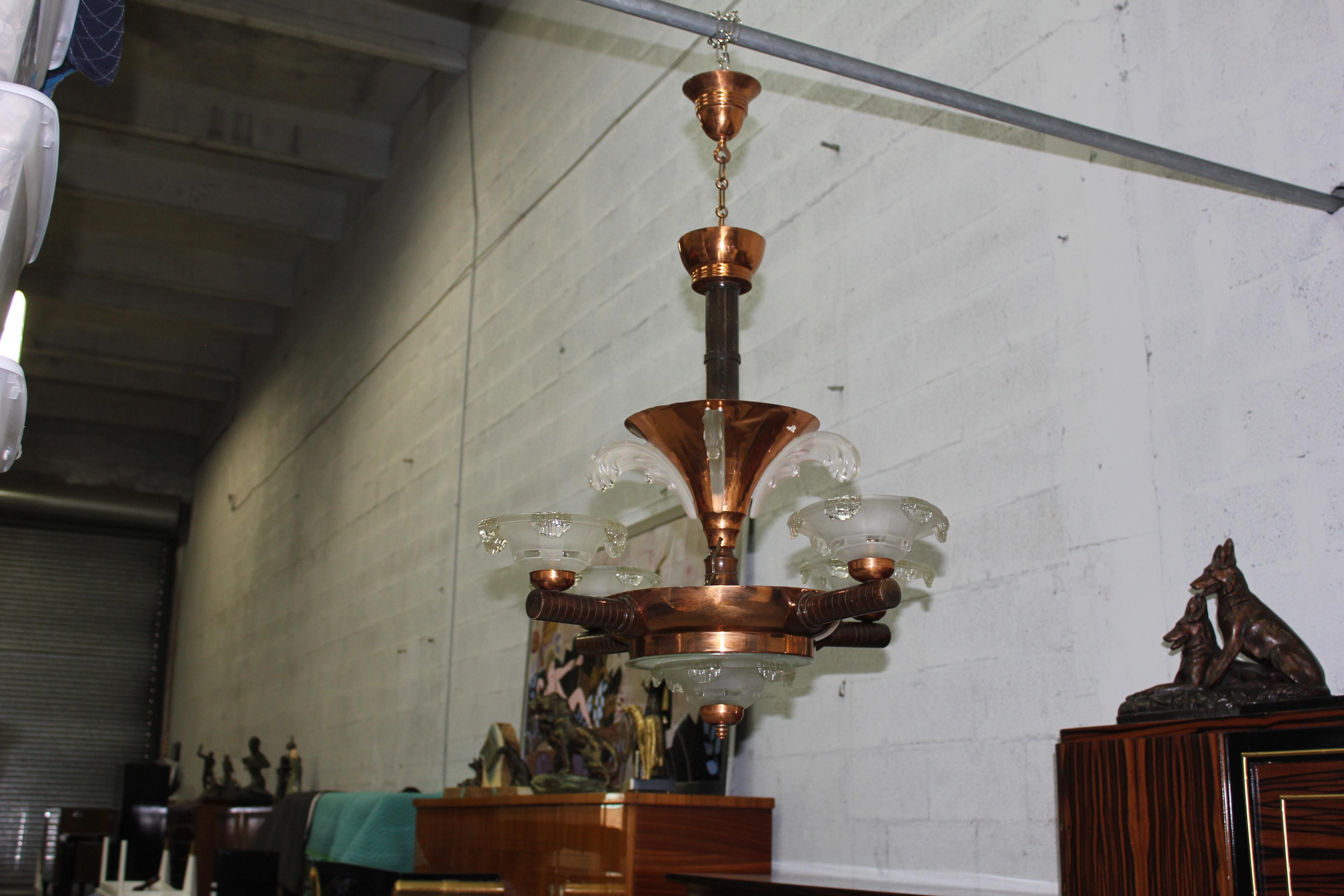 Monumental French Art Deco Chandelier By Ezan Glass And
