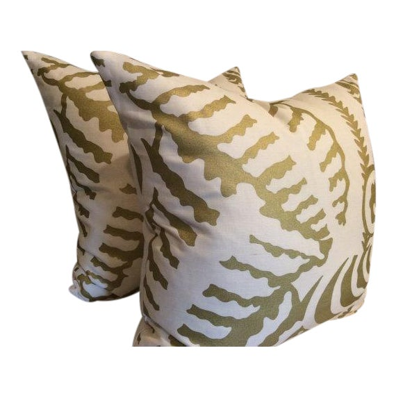 Quadrille Alan Campbell Pillows in Metallic Gold - a Pair - Image 1 of 4