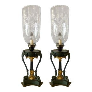 Empire Dore and Patinted Bronze Hurricanes, 19th Century - a Pair For Sale