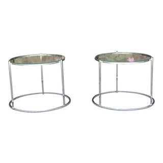 Mid Century Chrome Low Side Tables