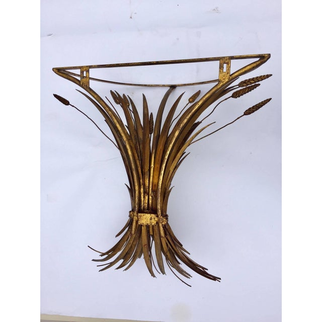 Vintage Gilded Metal Sheaf of Wheat Console Table Base For Sale - Image 9 of 13