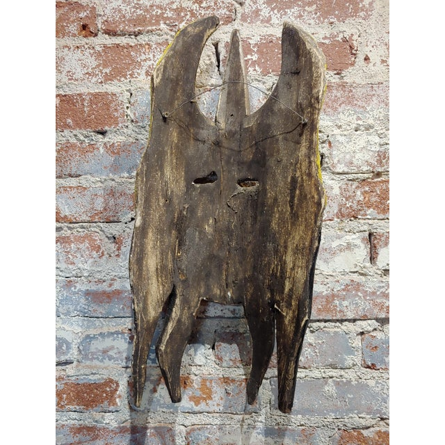 Black Mexican Mask -Antique Painted Wood Carved For Sale - Image 8 of 9