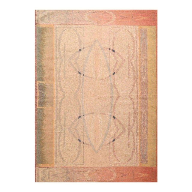 Hand-Knotted Contemporary Flat Weave Rug - 6′ × 8′5″ For Sale