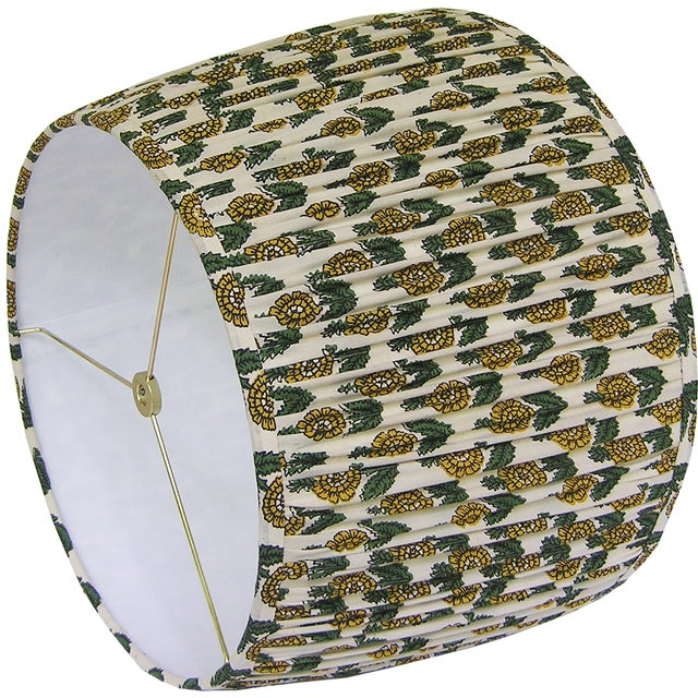 New, Made to Order, Floral Block Print Fabric, Large Pleated/Gathered Lamp Shade - Image 3 of 5
