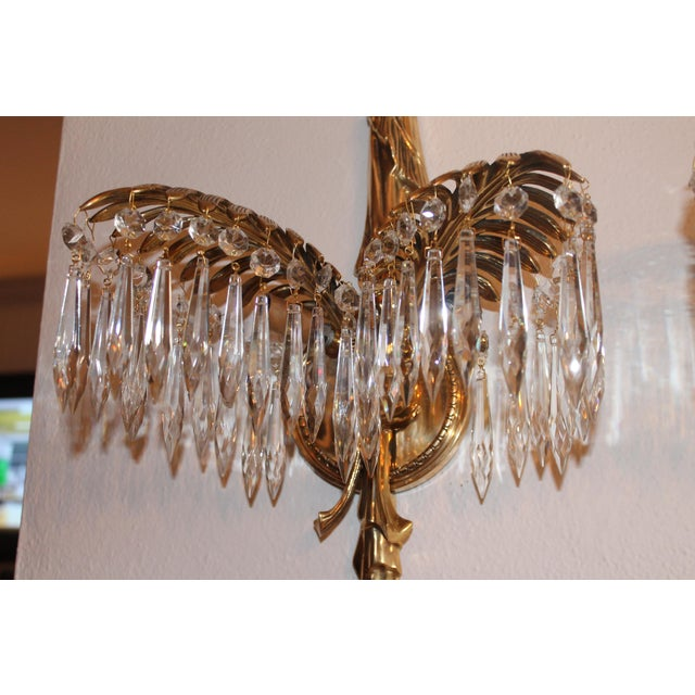 1940s 1940's French Hollywood Regency Solid Cast Bronze Palm Sconces - a Pair For Sale - Image 5 of 11