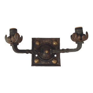 Wrought Iron and Brass Sconce For Sale