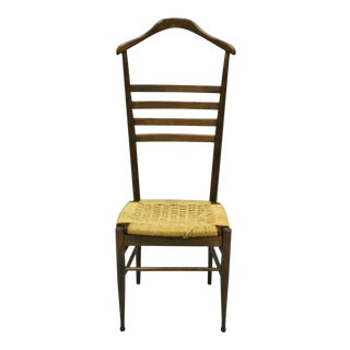 Vintage Gio Ponti Style Mid Century Modern Wood & Rope Valet Chair For Sale