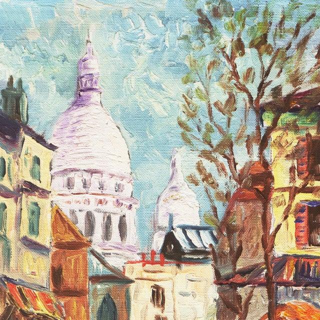 Canvas 'Place Du Tertre, Montmartre, Paris' by Rammy, Mid-Century Post-Impressionist Oil For Sale - Image 7 of 9