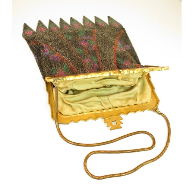 Whiting & Davis Deco Hand-Tinted Dresden Mesh Evening Purse 1920s For Sale - Image 11 of 13