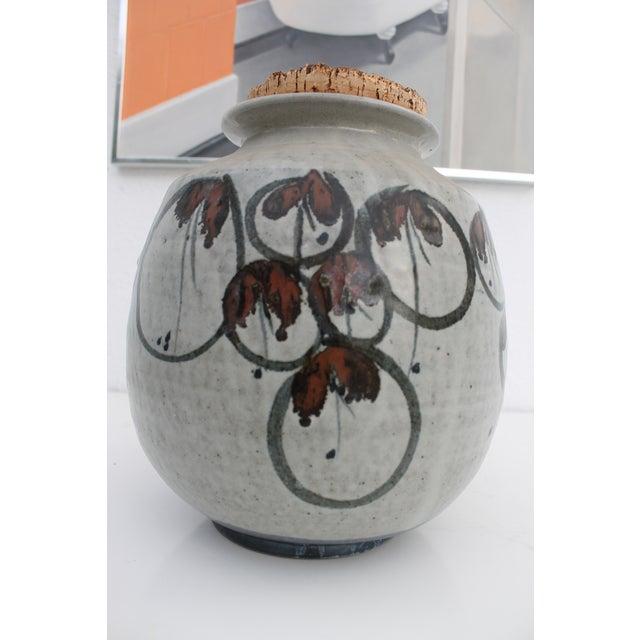 Contemporary Vintage Studio Pottery Jar Vase & Cork Stopper For Sale - Image 3 of 9