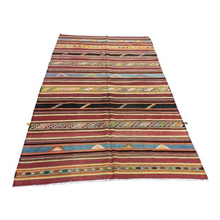 1960s Vintage Striped Turkish Handmade Wool Kilim Rug - 6′1″ × 9′8″ For Sale