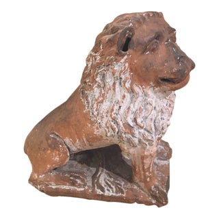 1960s Mid-Century Modern Terra Cotta Lion Garden Sculpture For Sale