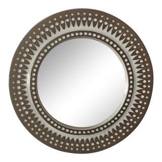 Mid Century Modern Danish Round Ceramic Wall Mirror For Sale