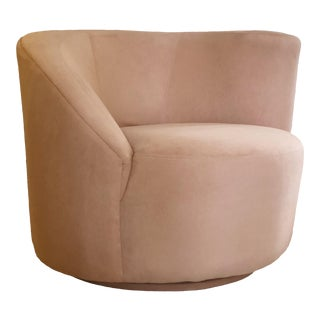 1980s Vintage Vladimir Kagan Pink Nautilus Swivel Chair For Sale