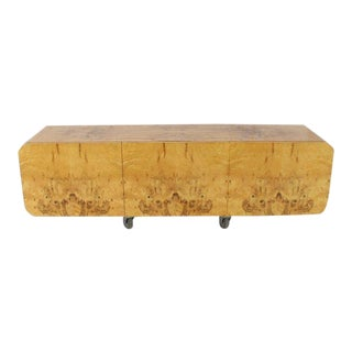 1970s Mid-Century Modern Wall Mount Hanging Burl Wood Bar Shape Credenza For Sale