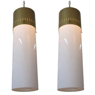 Mid-Century Cylinder Pendant Pair in Gold, Circa 1950 For Sale