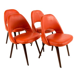 Saarinen Mid-Century Modern Orange Vinyl Executive Chairs - Set of 4