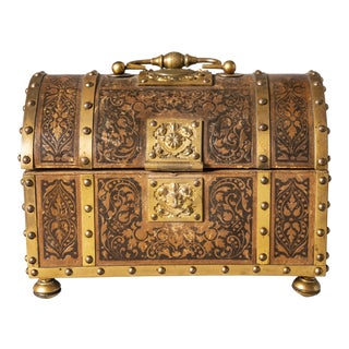 Circa 1910 Brass & Leather Casket For Sale