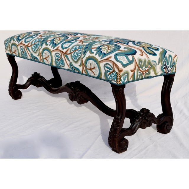 Wood Mid 19th Century Antique American Empire Upholstered Scroll Form Bench For Sale - Image 7 of 12