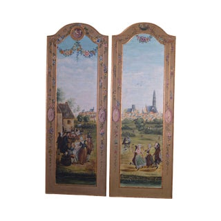 Sarreid Ltd. Hand Painted Pair French Style Wall Plaques For Sale