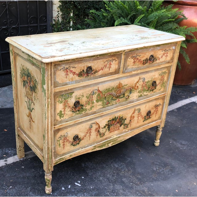 French Antique Paint Decorated French Country Chest of Drawers Commode For Sale - Image 3 of 5