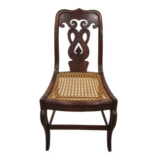 1850s Antique Empire Serpentine Scrolled Back Dining Accent Chair For Sale