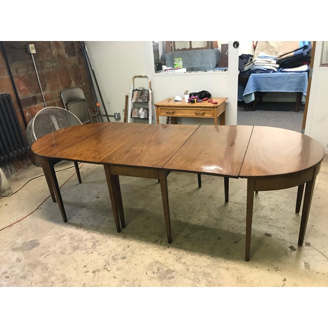 19th Century Hepplewhite Expandable Mahogany Dining Table With Two Demilunes For Sale - Image 11 of 11