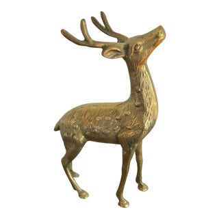 Vintage Brass Reindeer Figurine For Sale