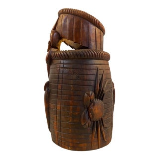 Antique Chinese Hand Carved Boxwood Prosperity Crab Basket / Brush Pot For Sale