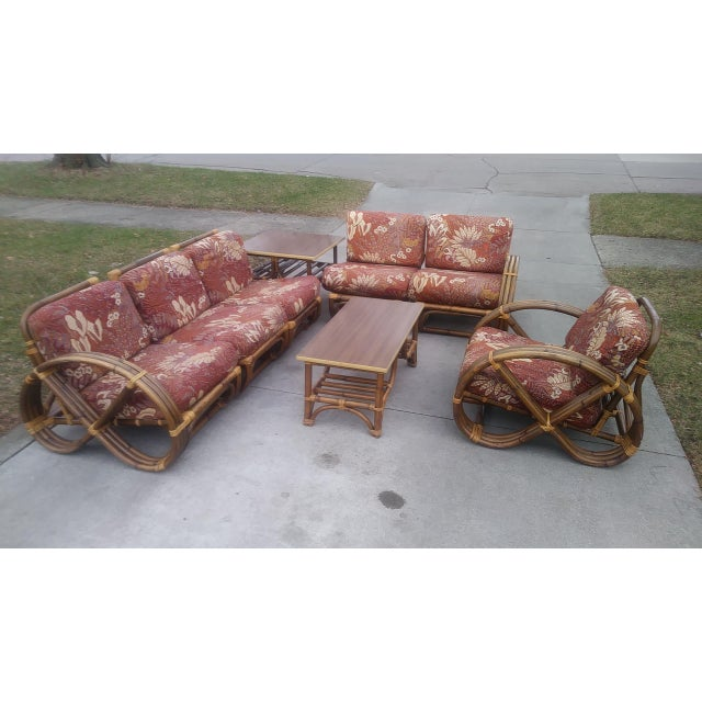 Vintage Mid Century Paul Frankl Style Pretzel Arm Rattan Bamboo Sofa - Set of 5 For Sale - Image 13 of 13