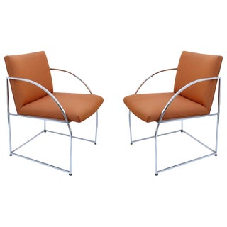 Chrome-Framed Pair of Chairs by Milo Baughman for Thayer Coggins For Sale