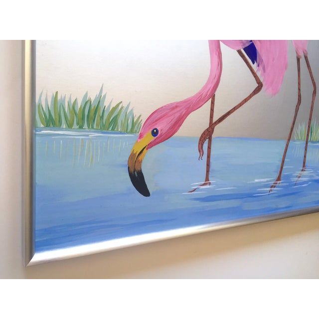 """Pink Rare Vintage 1950s Art Deco """" Pink Flamingos in Lagoon """" Framed Original Fine Art Gouache Painting on Board For Sale - Image 8 of 13"""