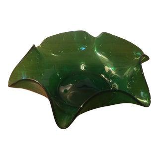 Green Blenko Ruffle Bowl