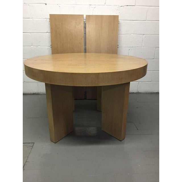 Cerused Oak James Mont Style Dining Table with Two Extensions - Image 4 of 6