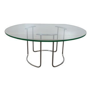 1960s Glass Top Coffee Table in the Style of Milo Baughman For Sale