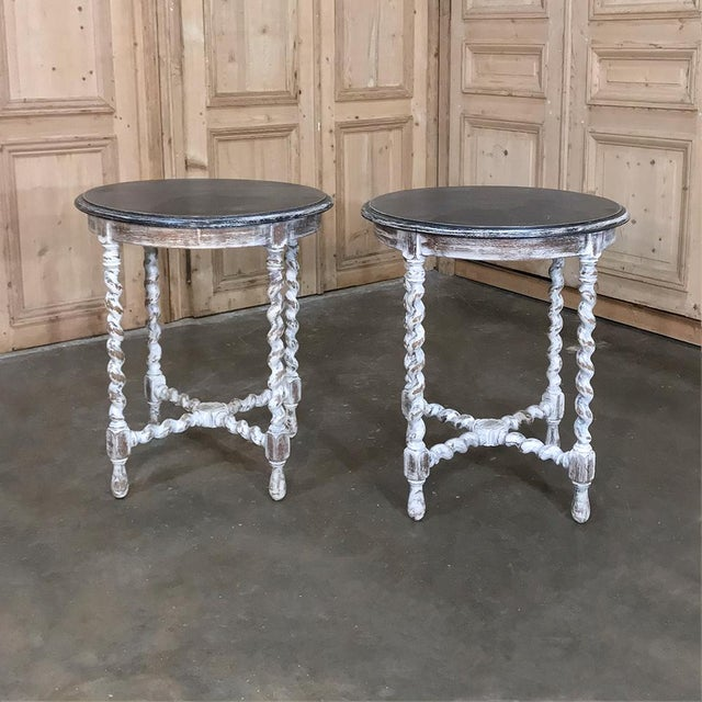 Early 19th Century Pair Antique Barley Twist Painted End Tables For Sale - Image 5 of 13