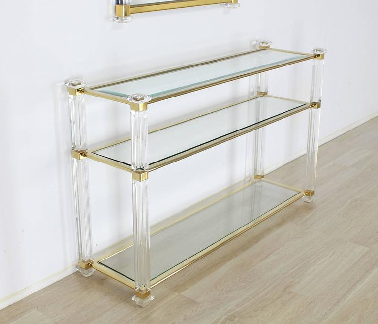 HighEnd Lucite and Brass Console Table and Matching Mirror DECASO